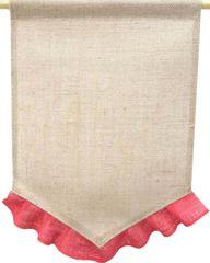BURLAP Jute Garden Flag with Colored Ruffle