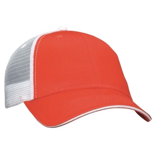 Mesh Back Sandwich Cap - Mid Profile - Orange/White