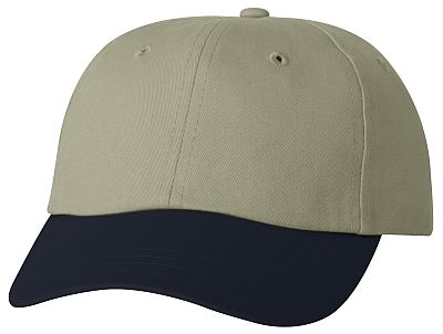 Cotton/Twill Cap - Low Profile - Khaki/Navy Bill