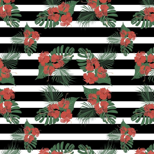 Floral Stripes Pattern Digitally Printed