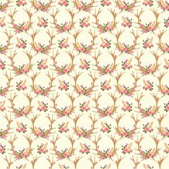 Bull Flower Pattern Digitally Printed