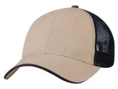 Mesh Back Sandwich Cap - Mid Profile - Khaki/Navy