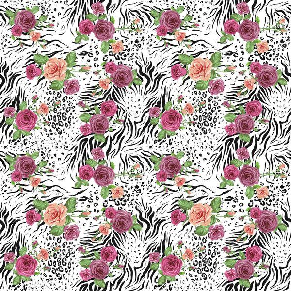 Animal Floral Pattern Digitally Printed