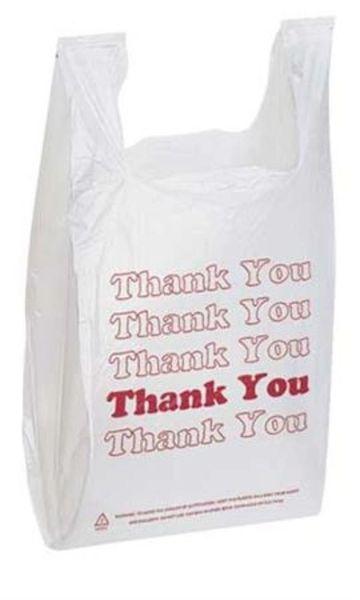 "Plastic White ""Thank You"" Bag"