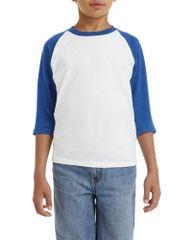 Youth Gildan - Baseball Raglan - White/Royal Sleeves - Unisex