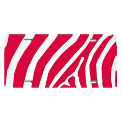 Red ZEBRA PRINT Heavy Plastic License Tag Blanks