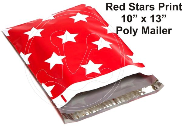"Red Stars Print Poly Mailers 10"" x 13"""