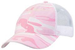 Mesh Back Sandwich Cap - Mid Profile - Pink Camo/White