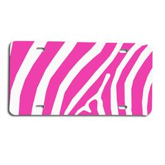 Pink ZEBRA PRINT Heavy Plastic License Tag Blanks