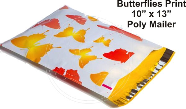 "Butterfly Print Poly Mailers 10"" x 13"""
