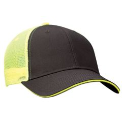 Mesh Back Sandwich Cap - Mid Profile - Charcoal/Neon Yellow