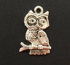 Owl on a Branch Charm Tibetan Silver Metal
