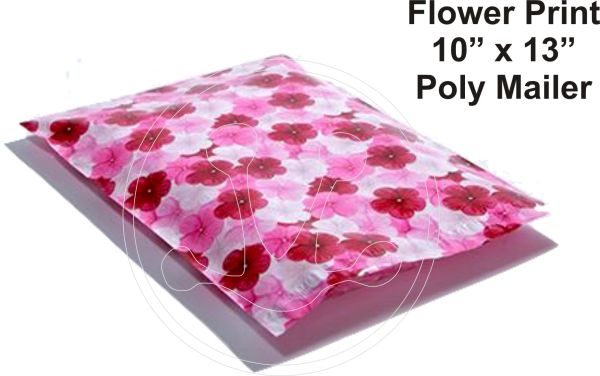 """Pansy Flower Print Poly Mailers 10"""" x 13"""""""