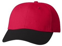Cotton/Twill Cap - Low Profile - Red/Black Bill