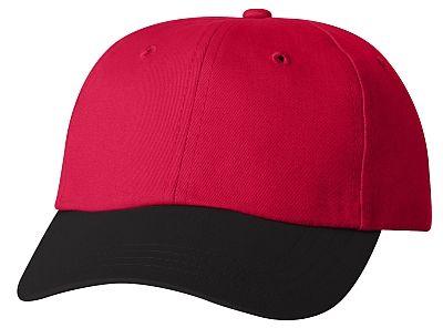 Cotton/Twill Cap - Low Profile - Red/Black Bill