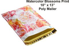 "Watercolor Blossoms Print Poly Mailers 10"" x 13"""