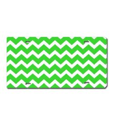 Green CHEVRON PRINT Heavy Plastic License Tag Blanks