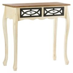 Distressed Wood Console Table with Mirror Drawers