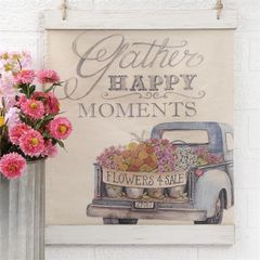 """GATHER HAPPY MOMENTS"" CANVAS SIGN WITH BLUE TRUCK"