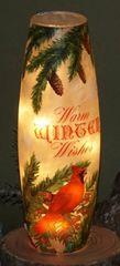 Tall Glass Warm Winter Wishes Vase w/Light