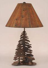 Iron Walking Bear w/Pine Trees Lamp