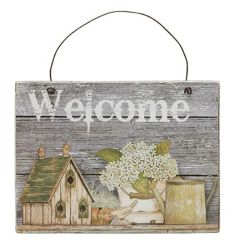 Bird House, Flowers Welcome Sign