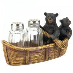 Black Bears and Canoe Salt and Pepper Set