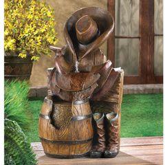 Western Cowboy Garden Fountain