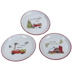 Enamel set of 3 holiday cheer plates