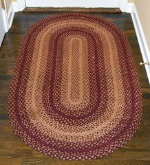 Tan/Red Oval Rug, 20x30