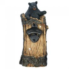 Rustic Black Bear Wall-Mounted Bottle Opener
