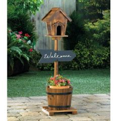 Rustic-Look Pedestal Bird House Planter with Chalk Board