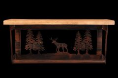 "Iron Deer and Pine Trees Towel Bar with 6"" Shelf"