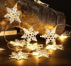 White Silver Snowflake Light String