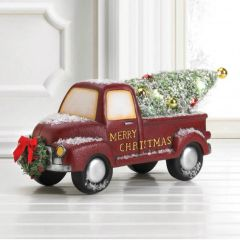 Light-Up Christmas Tree Truck with Wreath