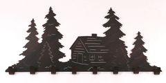 "36"" Iron Pine Tree and Cabin Coat Rack"