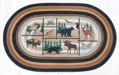 Lodge Animals Oval Rug