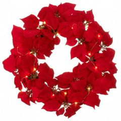 Lighted 20-inch Poinsettia Wreath
