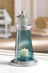 Blue Glass Watch Tower Candle Lantern