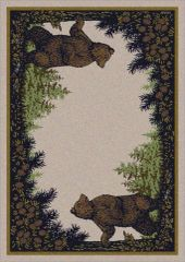 Twin Bears Rug- Rectangle - 8x11 - Green