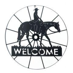 Western Cowboy Welcome Wheel Sign