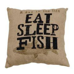 Eat, Sleep, Fish Pillow