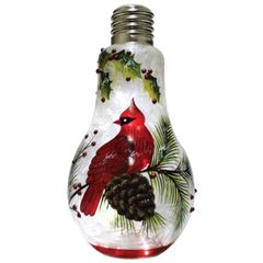 Light Bulb Cardinal & Pinecones