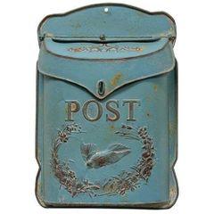Rustic Blue Post Box