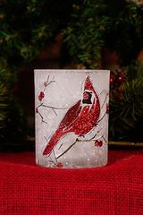 Glitter Cardinal Candle Holder