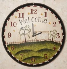 WALL CLOCK - GRAZING SHEEP