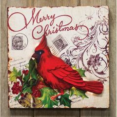 Lighted Merry Christmas Plaque w/Cardinal