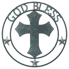 Galvanized Metal Wall Decor - Cross God Bless