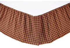 Queen Bed Skirt Burgundy Check