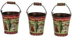 Christmas Metal Buckets Set of 3